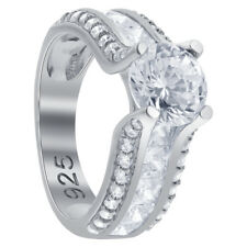 925 Sterling Silver CZ Princess Cut Cubic Zirconia Prong Set Ring Size 5 - 10