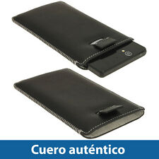 Negro Funda Bolsita de Cueropara Sony Xperia Z Android Smartphone Carcasa