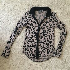 Living Doll Leopard Print Button Up Top Shirt S Small