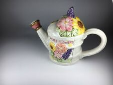 Vintage Fitz and Floyd Omnibus Oci Seeds Of Spring Watering Can Flower Teapot