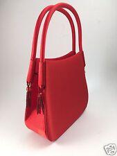 Womens Girls KMQ 1960s Style Small Red Satin Purse Evening Bag Beaded Tassels