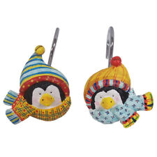 Frosty Friends Shower Curtain Hooks - Set of 12 - Penguins with Scarves