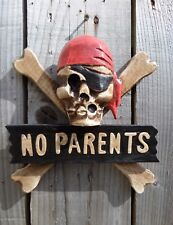 Hand Carved Made Wooden Wood Skull Pirate No Parents Gothic Wall Plaque Sign