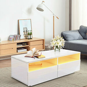 High Gloss RGB LED Coffee Table with 4 Drawer Storage Sofa Side End Table+Remote