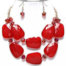 Red Gold Necklace Earrings Chunky Layered Acrylic Chain Fashion Jewelry Set
