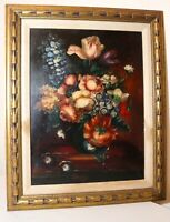 vintage original Celentini botanical flower still life oil painting wood frame