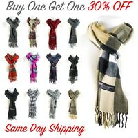 Women Men High Quality CASHMERE Scarf Solid Plaid Wool SCOTLAND Winter Scarf New