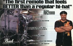 2002 small Print Ad of Pearl RH2000 Remote Hi-Hat Stand w Dennis Chambers