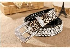 Rock Star Cowboy Performer Punk Leopard Buckle Rhinestone Belt Stud Country Boho