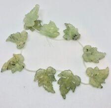 Fab Green Prehnite Leaf Briolette Bead Strand 110532F