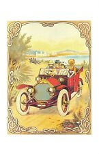 Nostalgia Postcard Humber Car on a British Textile Label c1910 Repro Card NS22