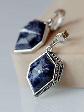 Ohrringe Clips Zangen Silber hexagonal Sodalith marineblau Retro x10
