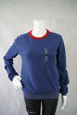 Band of Outsiders Blue Red Crewneck 100% Merino Wool Pocket Sweater Size 2