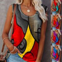 Summer Women Casual Print Blouse Sleeveless Crew Neck T Shirt Splice Tank Tops