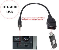 3.5mm Male AUX Audio Plug to USB 2.0A Female Jack OTG Converter Lead Adapter BLK
