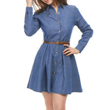 a7f404a1e1dfda Allegra K Womens Long Sleeves Belted Flared Above Knee Denim Shirt Dress XL  Blue