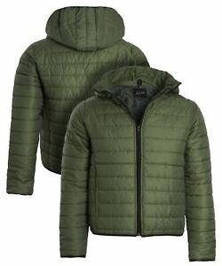 Mens Bubble Puffer Coat Size S M L XL Quilted Jacket Khaki
