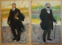 pair Russian Ukrainian Soviet Oil Paintings impressionism Marx Lenin propaganda
