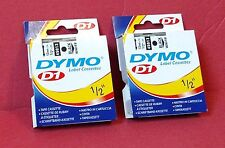 "2Pk Genuine Dymo 45013 D1 Tape Cartridges 1/2"" x 23', Black on White ~ Free S/H"