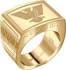 Mens Scottish Rite 10k Yellow or White Gold Freemason Masonic Ring Sizes 8 to 14