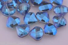 5pcs 20mm Faceted Crystal Glass Charms Triangle Shell Loose Beads Blue Colorized