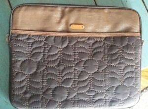 Fossil Key-Per Black and Brown Quilted Laptop Bag with Key Fob