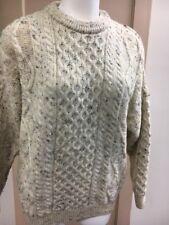 Aran crafts crewneck sweater fisherman's cable knit Oatmeal Sz L