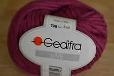 Rare Gedifra Live 100% new wool 50g in dark magenta colour (discontinued)
