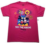 Disney Parks Disneyland Resort 2020 Tshirt Mickey & Minnie Pink M  NWT
