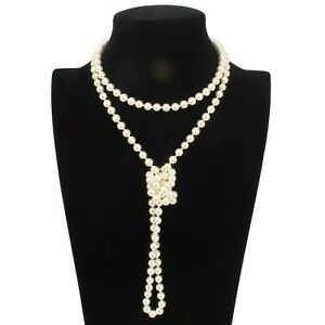 Beads Charleston Faux Pearl  Glass Long  Necklace Vintage Style 20s  150 cm