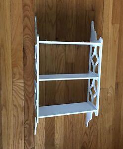 Vintage White Wood 3-Tiered Shelf