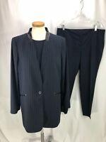 Vince Camuto Women's Blue Pinstripe 3 Piece Pant Suit 14 L