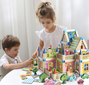 GIRLS AND BOYS HI-QUALITY DOLL HOUSE CASTLE WOODEN BUILDING BLOCKS SET