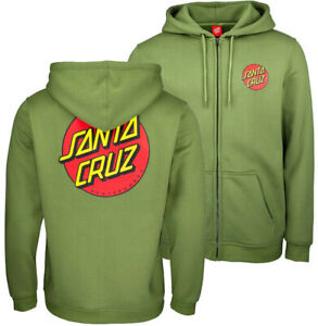 SANTA CRUZ Classic Dot Zip Hoodie - Skateboard Hoody LARGE - Dill Green