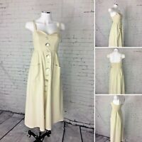 Indikah Size 6 Strappy 100% Linen Maxi Dress Off White/Bone Buttons and Pockets
