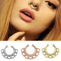 Fake Gem Septum Ring Non-Piercing Nose Ring Hanger Clip-On Jewelry 1pc MW UP
