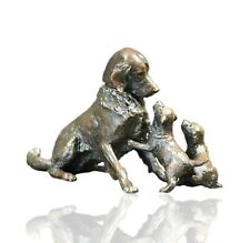 Bronze Retriever Dog with Puppies - Ltd Ed 150 Michael Simpson. 615g.