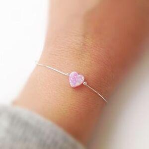 PINK HEART OPAL Bracelet Handmade Jewelry Stylish WOMEN'S 14k Gold Filled Gift