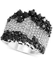 Round Shape Shiny Black Spinel With Clear White CZ 2.48TCW Women's Fashion Ring
