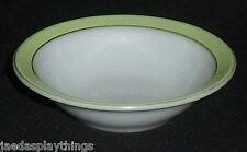 """Pyrex Lime Green Band Milk Glass Fruit Sauce Dessert Bowl 5.5"""" Gold Trim"""