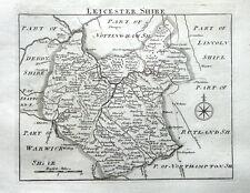 Leicestershire, John Roque, Angleterre affichées, Original antique County Carte 1769
