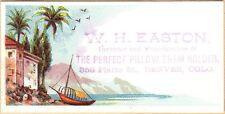 Small Victorian Trade Card-W H Easton-Pillow Sham Holder-Denver, Co-Shore Scene