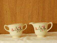 Vintage Homer Laughlin Cream & Sugar Set. White w/ Floral E54 N6 and E54 N6