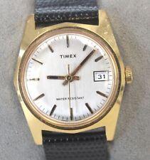 Vintage TIMEX Gold Toned Black Leather Strap Mechanical Wristwatch - D28