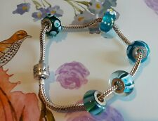 Rhona sutton charm bracelet 925 sterling silver & 5 blue charms murano glass