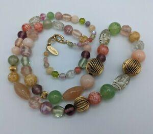 Signed Oscar de la renta Colorful Acrylic Glass Long Beaded Necklace Gold Tone