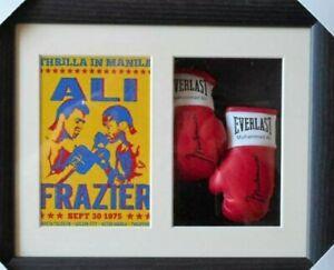 Muhammad Ali v Joe Frazier Miniature Boxing Glove Display *Boxing Memorabilia*