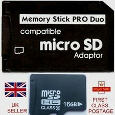 16GB MICRO SD CARD & MICRO SD TO MEMORY STICK PRO DUO ADAPTER FOR PSP  CYBERSHOT
