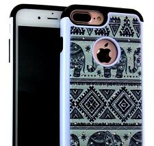 For iPhone 7+ Plus - HYBRID HARD&SOFT DIAMOND BLING CASE COVER TRIBAL ELEPHANTS