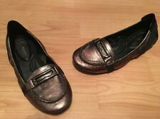 NEW B. Makowsky Classics Bronze Metallic Ballet Loafer Buckle Flats Shoes 7.5M